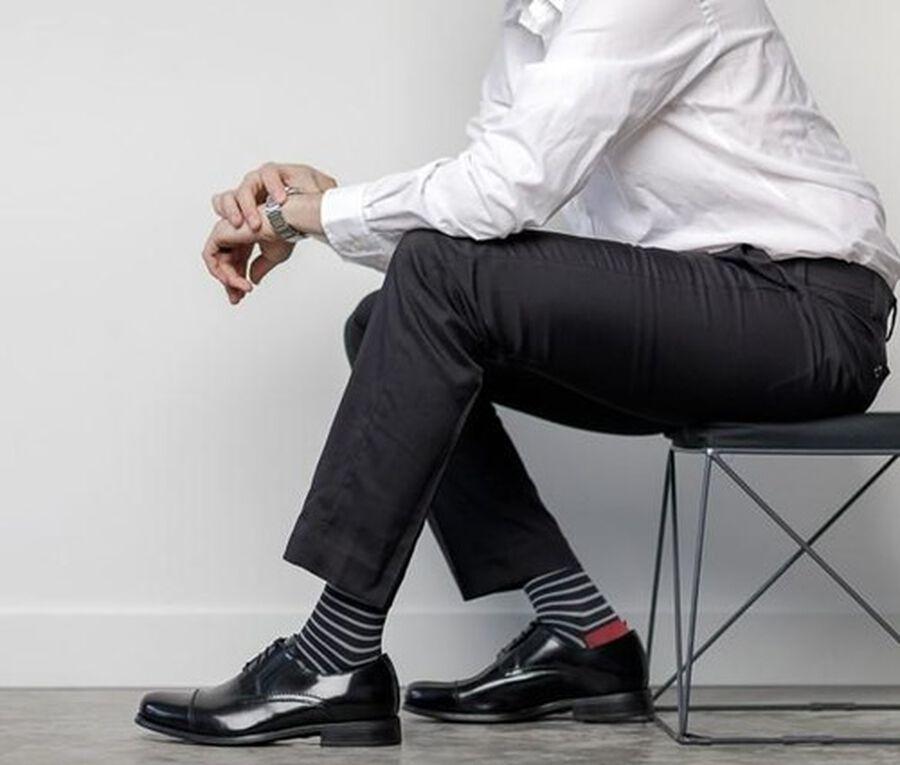 VIM & VIGR Nylon Compression Socks, Little Stripe Black & Gray, 30-40 mmHg, , large image number 4