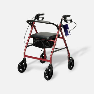 """Drive Aluminum Rollator with Fold Up and Removable Back Support, 7"""" Casters, Red"""