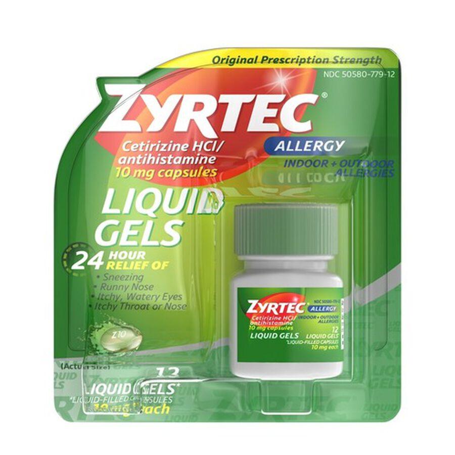 Zyrtec Allergy Liquid Caps, 12 ct, , large image number 0