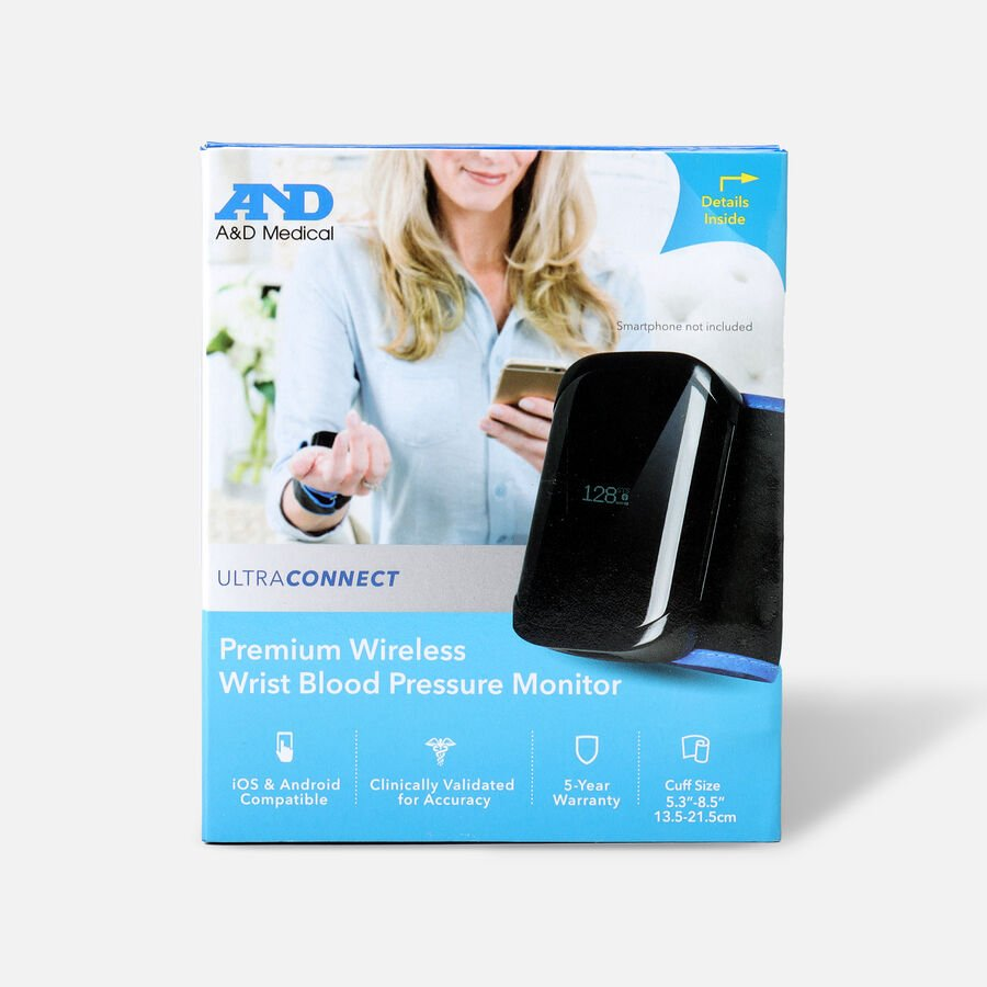 A&D UltraConnect Wireless Wrist Blood Pressure Monitor, , large image number 0