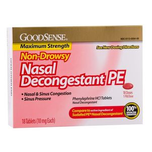 GoodSense® Nasal Decongestant Tablet 18 Count, 10mg Phenylephrine Hydrochloride