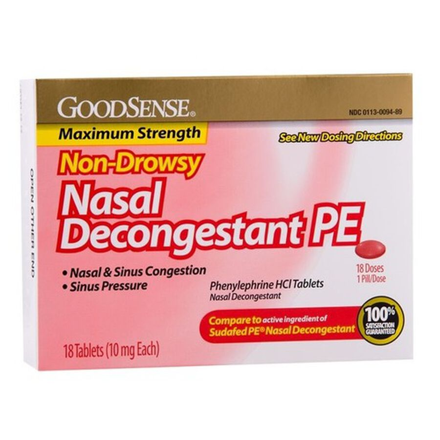 GoodSense® Nasal Decongestant Tablet 18 Count, 10mg Phenylephrine Hydrochloride, , large image number 0