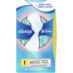 Always Infinity FlexFoam Pads with Wing, Unscented