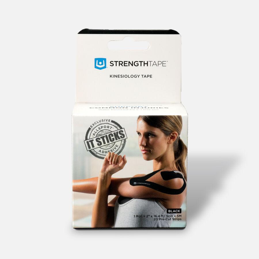 StrengthTape Kinesiology Precut Tape, Black, 20 ct, Black, large image number 0