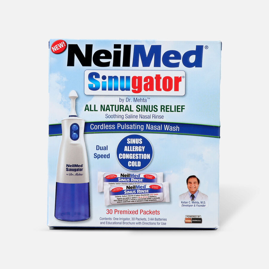 NeilMed Sinugator Cordless Pulsating Nasal Wash with 30 Premixed Packets, 1 set, , large image number 0