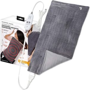 "Sharper Image® Calming Heat Massaging Weighted Heating Pad, 6 Settings - 3 Heat, 3 Massage, 12"" x 24"", 4 lbs"