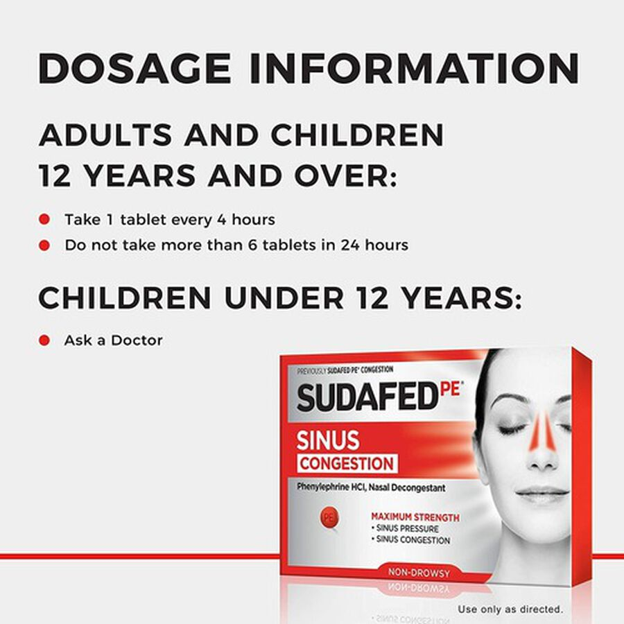 Sudafed PE Sinus Congestion Maximum Strength Non-Drowsy Decongestant Tablets, 36 ct, , large image number 3