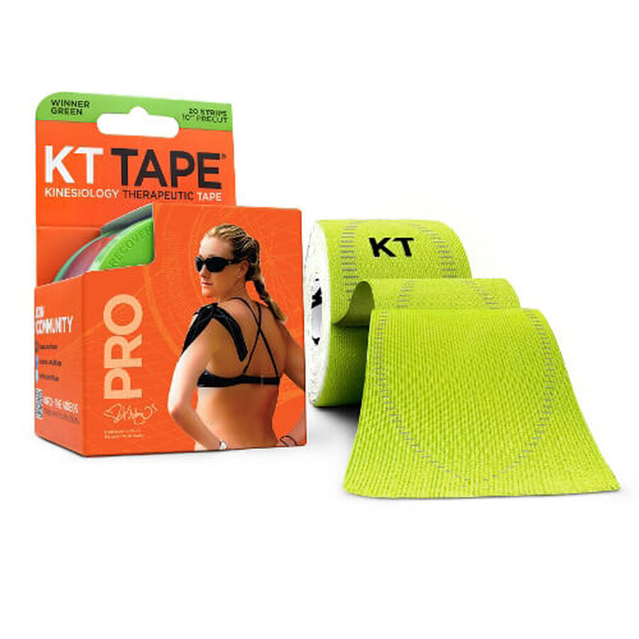 KT TAPE PRO, Pre-cut, 20 Strip, Synthetic, Winner Green, Winner Green, large image number 0