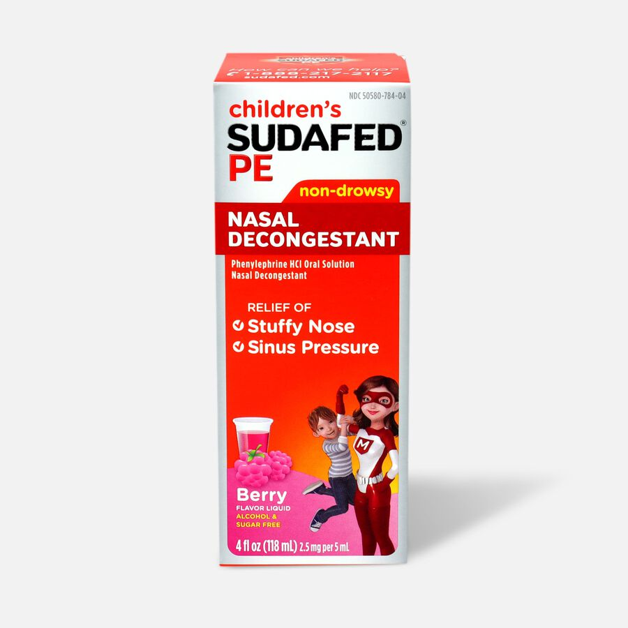 Children's Sudafed PE Oral Solution, Non-Drowsy, Berry Flavor, 4 fl oz, , large image number 0