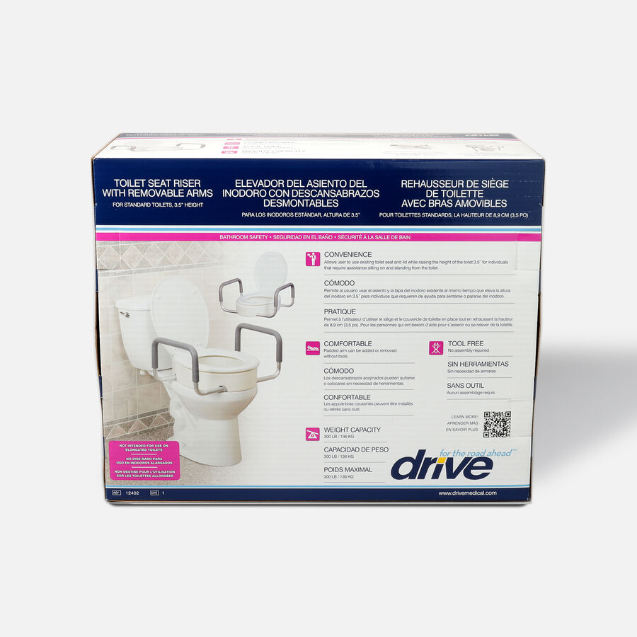 Drive Medical Toilet Seat Riser with Removable Arms, , large image number 1