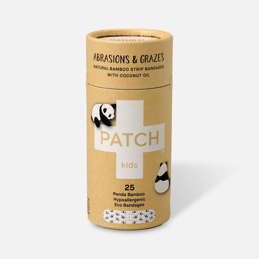 PATCH Kids Organic Bamboo Adhesive Strip Bandages with Coconut Oil, Panda Print - 25ct, , large image number 0