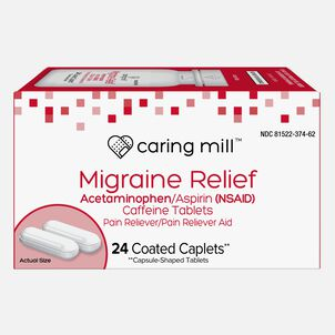 Caring Mill™ Migraine Relief Acetaminophen/Aspirin (NSAID) Caffeine Tablets, 24 Coated Caplets