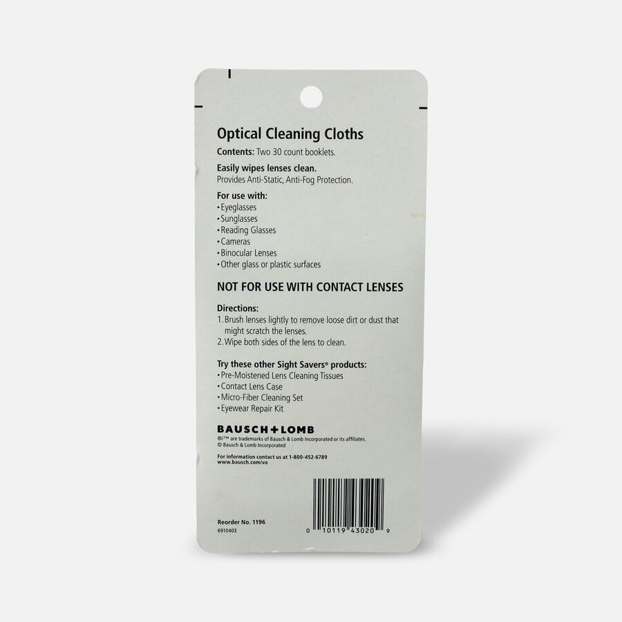 Bausch and Lomb Sight Savers Cleaning Cloths - 2/Pack, , large image number 1