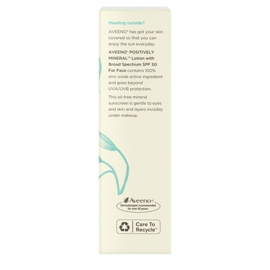 Aveeno Positively Mineral Sensitive Face Lotion Sunscreen SPF 50, 2 fl. oz, , large image number 1