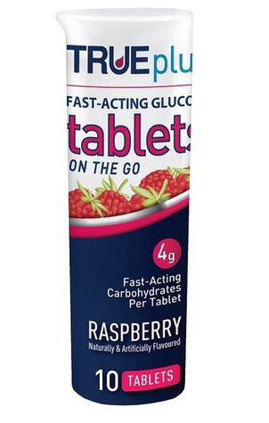 TRUEplus Glucose Tablets 10 ct- Raspberry