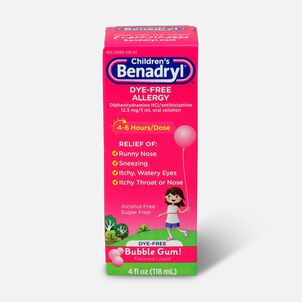 Children's Benadryl Oral Solution, Bubble Gum Flavored, 4 fl oz