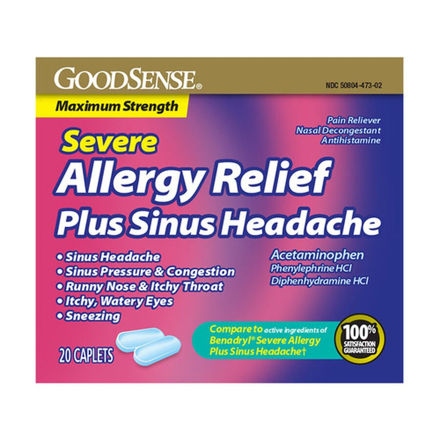 GoodSense® Severe Allergy Relief Plus Sinus Headache Caplets, 20ct , , large image number 0