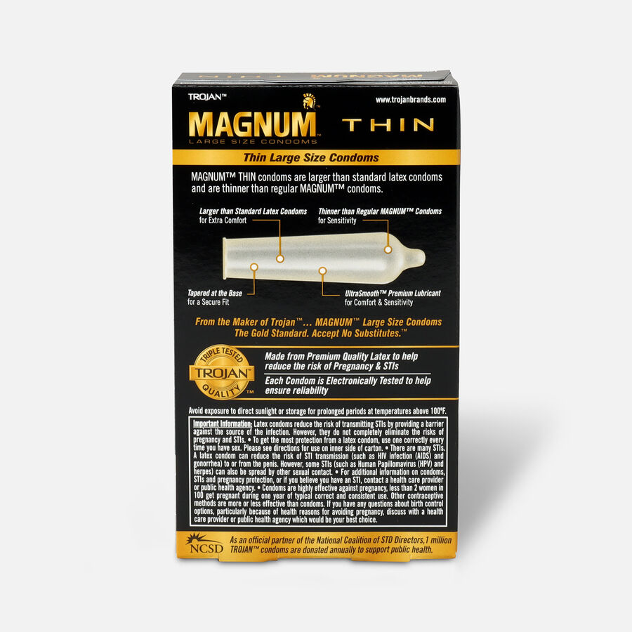 Trojan Condoms Magnum Lubricated Latex Thin, Large 12 ea, , large image number 1
