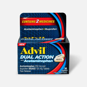 Advil Dual Action Coated Tablets, Acetaminophen + Ibuprofen, 36 ct