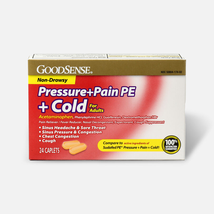 GoodSense® Pressure + Pain PE + Cold Relief Caplets, Non-Drowsy, 24 ct, , large image number 0