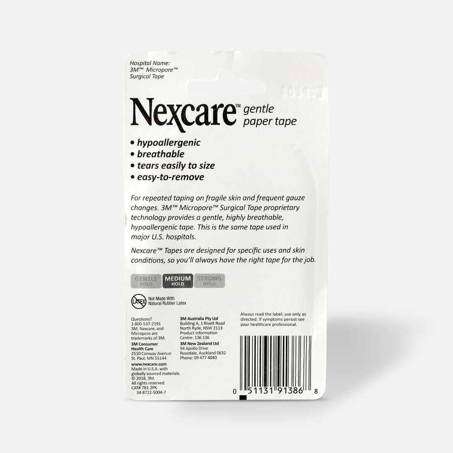 """Nexcare Gentle Paper Tape, 1"""" x 20 yds - 2ct, , large image number 1"""