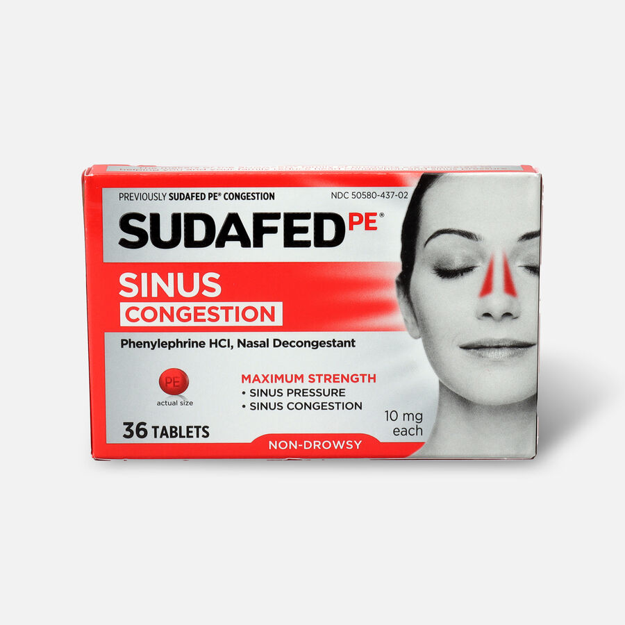 Sudafed PE Sinus Congestion Maximum Strength Non-Drowsy Decongestant Tablets, 36 ct, , large image number 0