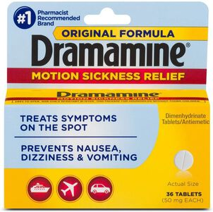 Dramamine Motion Sickness Relief Tablets, Original Formula, 36 ct