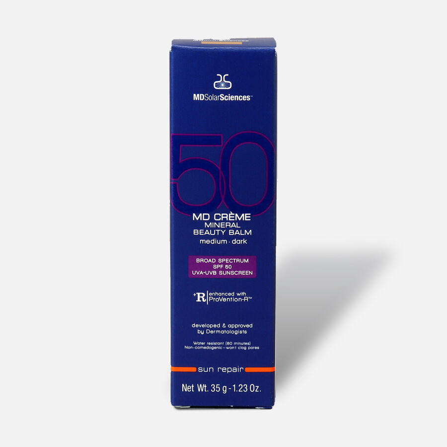MD Crème Mineral Beauty Balm SPF 50 Face Sunscreen Medium/Dark, 1.23 oz, , large image number 1