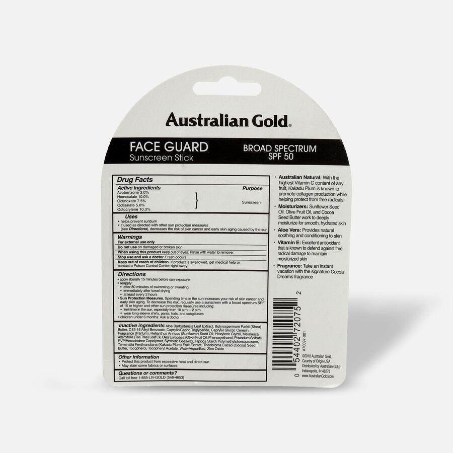 Australian Gold SPF 50 Face Guard, Sunscreen Stick, Cocoa Dreams, .5 oz, , large image number 1
