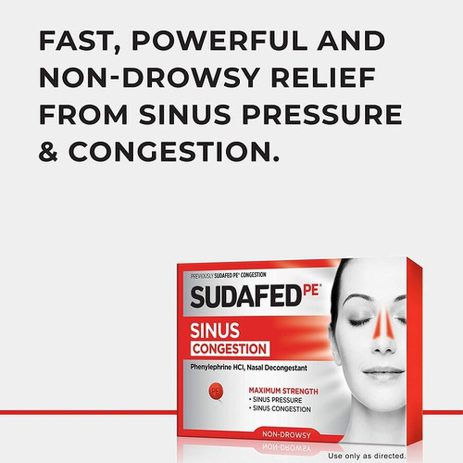 Sudafed PE Sinus Congestion Maximum Strength Non-Drowsy Decongestant Tablets, 36 ct, , large image number 2