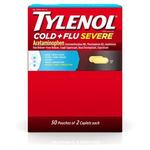 Tylenol Cold + Flu Severe Medicine Caplets, 50 pouches of 2 ct.