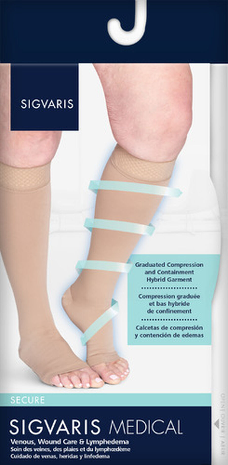 SIGVARIS Natural Rubber Unisex Socks, Open Toe, Small Short, Beige, , large image number 3