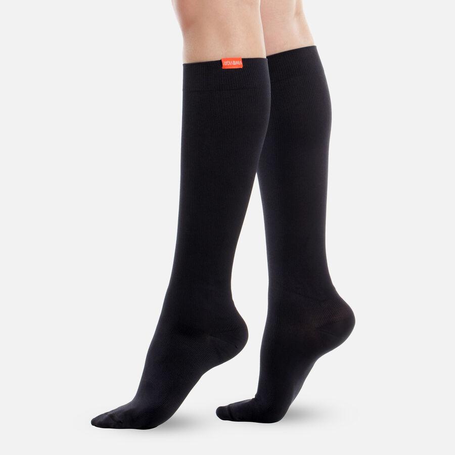 VIM & VIGR Moisture-Wick Nylon Socks, Solid Black, Wide Calf, 30-40 mmHg, , large image number 0