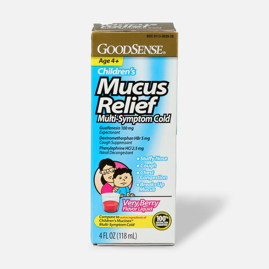 GoodSense® Children's Mucus Relief Multi-Symptom Berry Flavor, 4 fl oz, , large image number 0