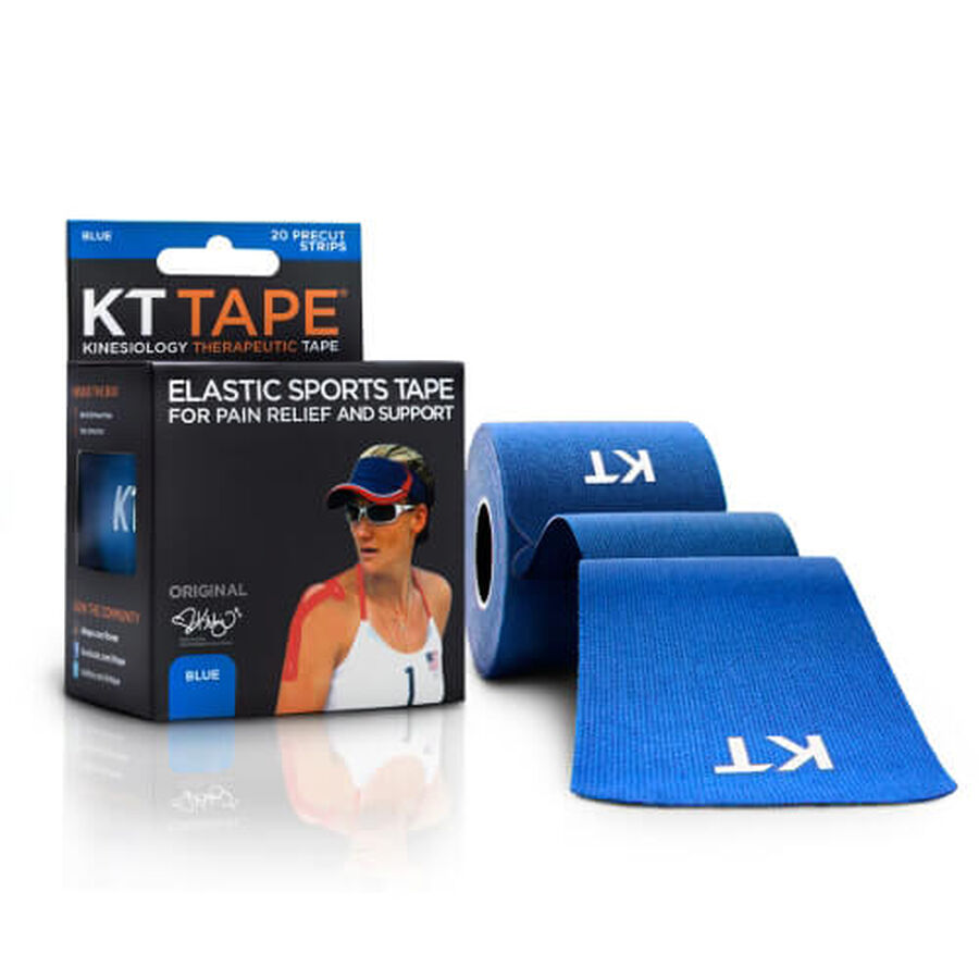 KT TAPE Original, Pre-cut, 20 Strip, Cotton, Blue, Blue, large image number 2