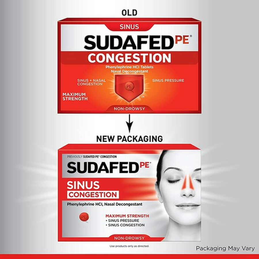 Sudafed PE Sinus Congestion Maximum Strength Non-Drowsy Decongestant Tablets, 36 ct, , large image number 4