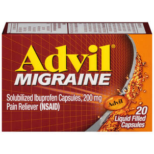 Advil Migraine Pain Reliever and Fever Reducer Liquid Filled Capsules, 200mg, 20 ct