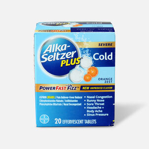 Alka-Seltzer Plus Cold PowerFast Fizz, Effervescent Tablets, Orange Zest, 20ct