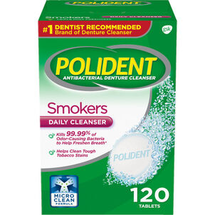 Polident Antibacterial Smokers Daily Cleanser Tablets - 120ct.