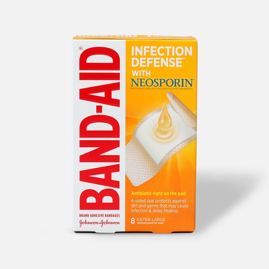 Band-Aid Adhesive Bandages Infection Defense With Neosporin Antibiotic Extra Large - 8ct, , large image number 0