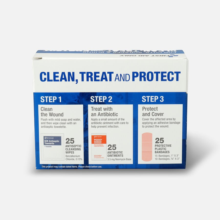 First Aid Only Clean, Treat and Protect For Cuts, Scrapes & Burns Kit, , large image number 1