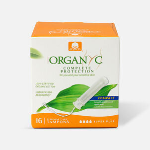 Organyc Super Compact Tampons with Eco-Applicator, 16ct