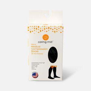 Caring Mill® Men Medical Compression Socks, Closed Toe, Large, Black