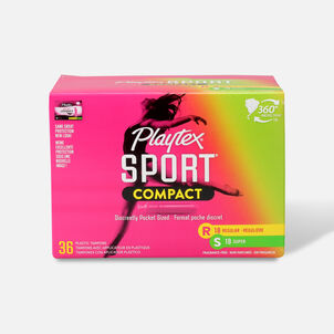 Playtex Sport Compact Multipack Tampons, Unscented, 36ct (Reg/Super)