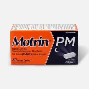 Motrin PM Pain Reliever/Nighttime Sleep-Aid Coated Caplets, 80 ct