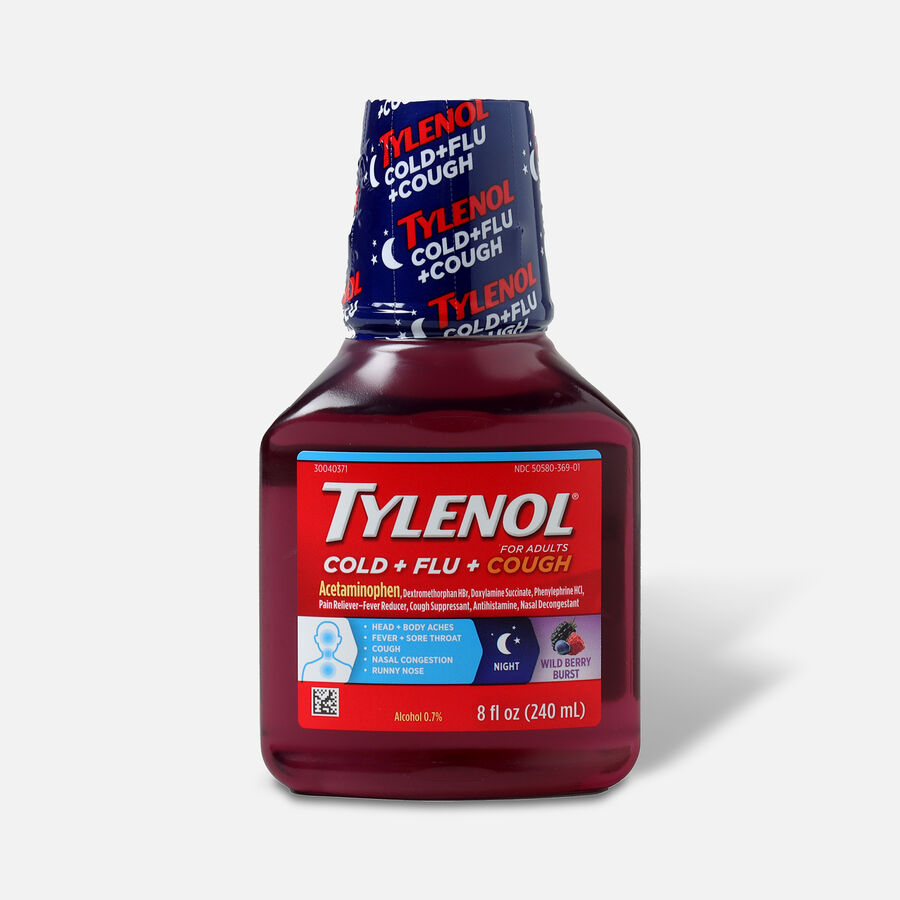 Tylenol  Cold + Flu+ Cough Night Wild Berry Liquid 8 fl oz, , large image number 0