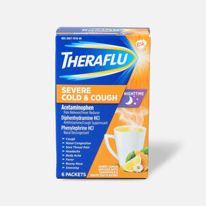 Theraflu Night Time Severe Cold & Cough Powder, Honey Lemon Infused with White Tea and Chamomile, 6 ct