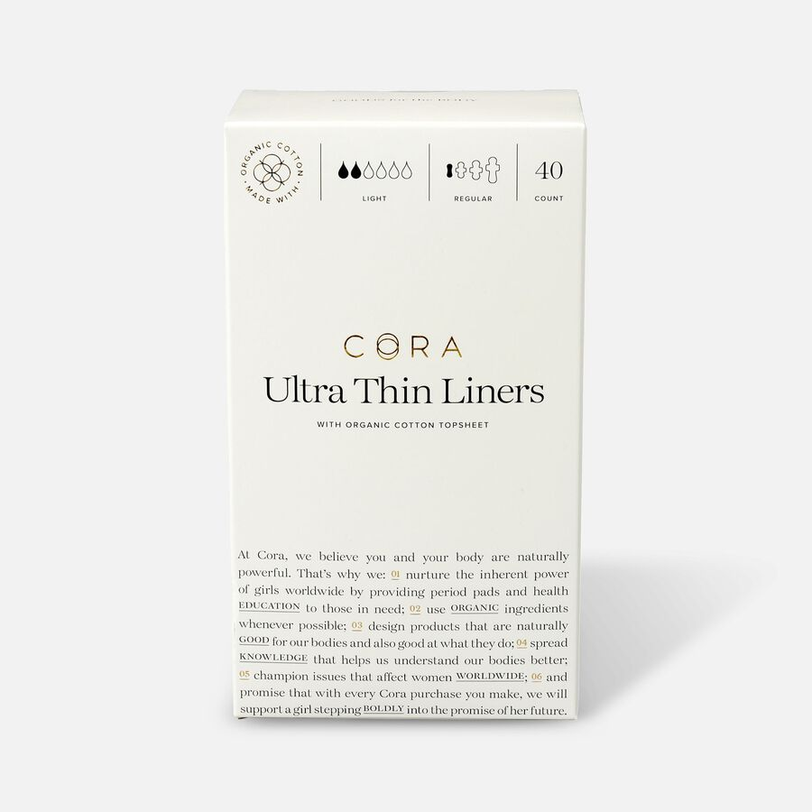 Cora Organic Cotton Ultra Thin Period Liners, 40ct, , large image number 0