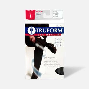 Truform Men's Dress Knee High Support Sock, 30-40 mmHg, Closed Toe, Black