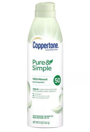 Coppertone Pure & Simple Sunscreen Spray, SPF 50, 5 oz